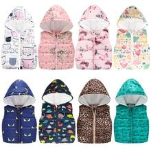 Весенне-осенние жилеты для мальчиков и девочек, модный жилет с цветочным принтом, жилеты с капюшоном для девочек и мальчиков, теплая верхняя одежда, пальто