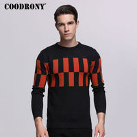 COODRONY 2017 Autumn Winter Mens Sweaters Casual Plaid O Neck Pull Homme Soft Warm Cashmere Sweater