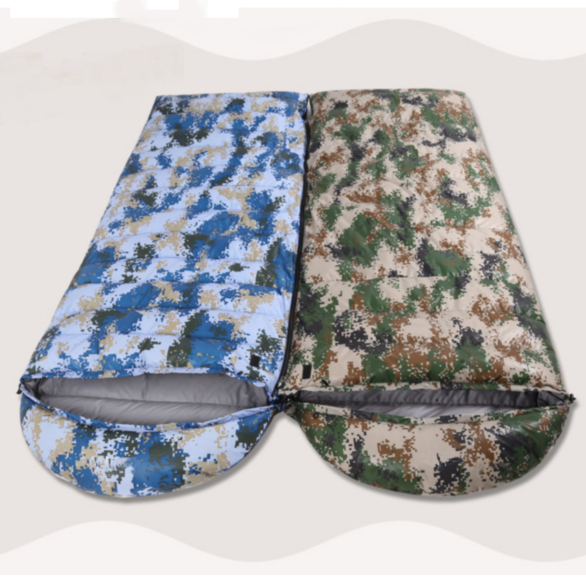 Portable Thicken Envelope Camouflage Duck Down Sleeping Bag Travel Sleep Sack Camping Travelling Hiking Outdoor Sleeping Gear nature portable multifuntional ultralight mini duck down mummy shape outdoor camping travel hiking sleeping bag 1100g 2 colors