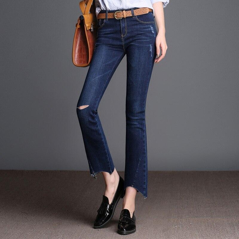 Women s Loose Plus Large Size Ripped Jeans Lady s Boyfriend Jeans For Women Blue Casual