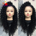 Fashion Beautiful Curly Wigs Long Kinky Curly Synthetic Lace Front Wig For Black Women With Baby Hair Deep Curly Hair Wigs