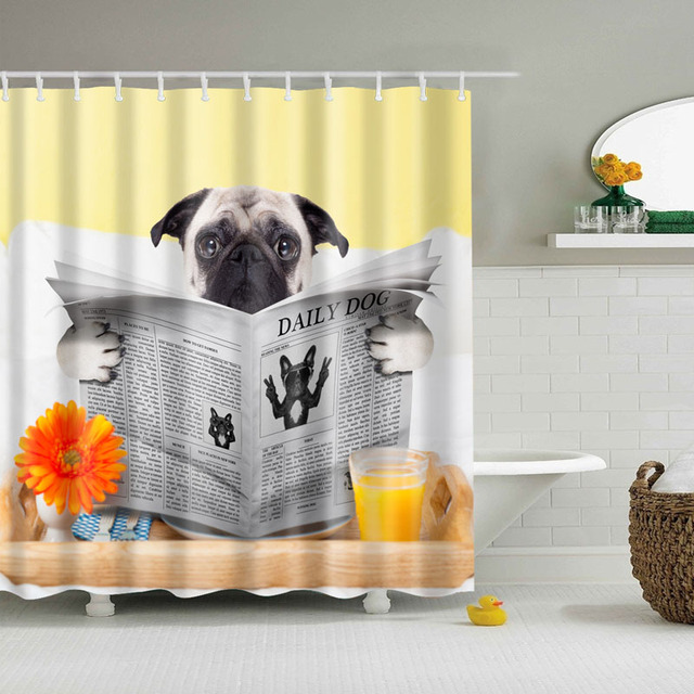 2018 Luxury Smart Funny Dog Pug Newspaper Shower Curtains Custom Design Curtain Bathroom Waterproof Polyester