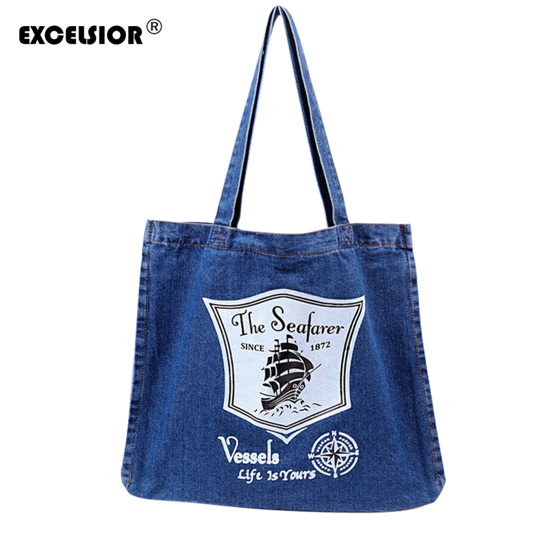 EXCELSIOR Women Denim Tote Bag Casual Solid Canvas Jean Large Capacity Top Handle Bag Zipper Soft Fabric One Shoulder Bags sac  lilyhood women canvas embroidered handbags etsy handmade vintage rustic wedding shabby chic bohemian top handle fabric tote bag