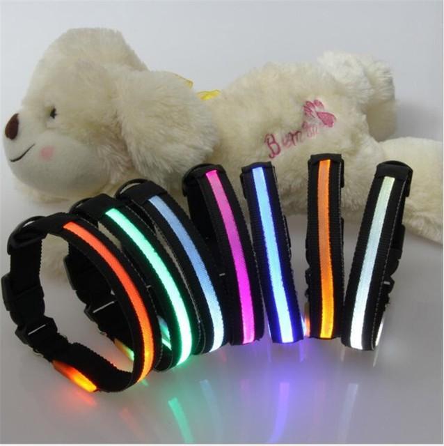 fg85 gratis verzending hond kraag led nylon lichtgevende halsbanden zwarte draad mesh verlichte halsbanden voor kleine