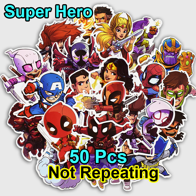 New 50 Pcs Super Hero Stickers for Laptop Car Styling Luggage Bicycle Skateboard Phone Motorcycle Vinyl Decal Fashion Sticker    ...