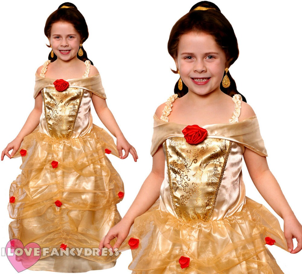 KIDS GOLDEN PRINCESS BELLA FANCY DRESS COSTUME GIRLS BEAUTY AND THE BEAST FILM MOVIE CHARACTER WORLD BOOK DAY FAIR COSPLAY CHILD