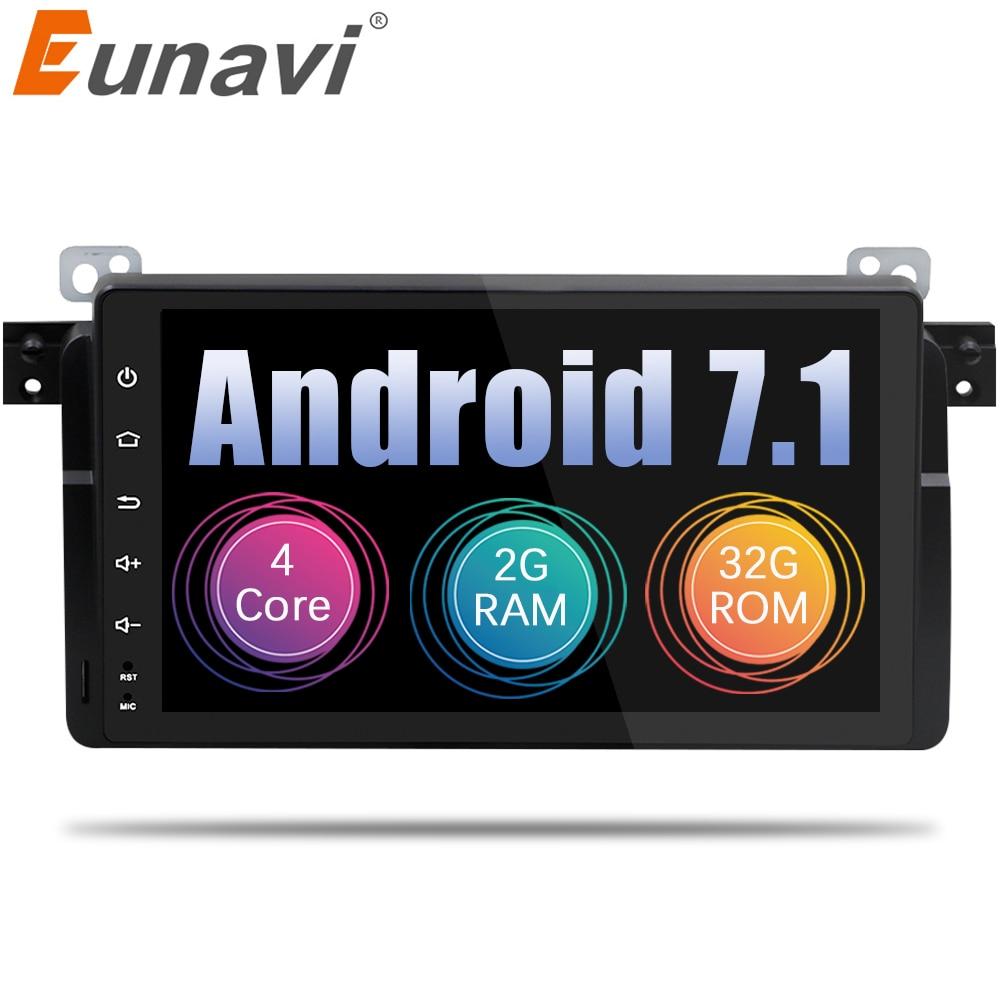 Eunavi 1 Din 9 pouce D'android De Noyau de Quadruple 7.1 Pour BMW E46 M3 Rover 75 Voiture DVD GPS Wifi 4g Radio RDS Canbus RAM 2 gb ROM 16g/32 gb