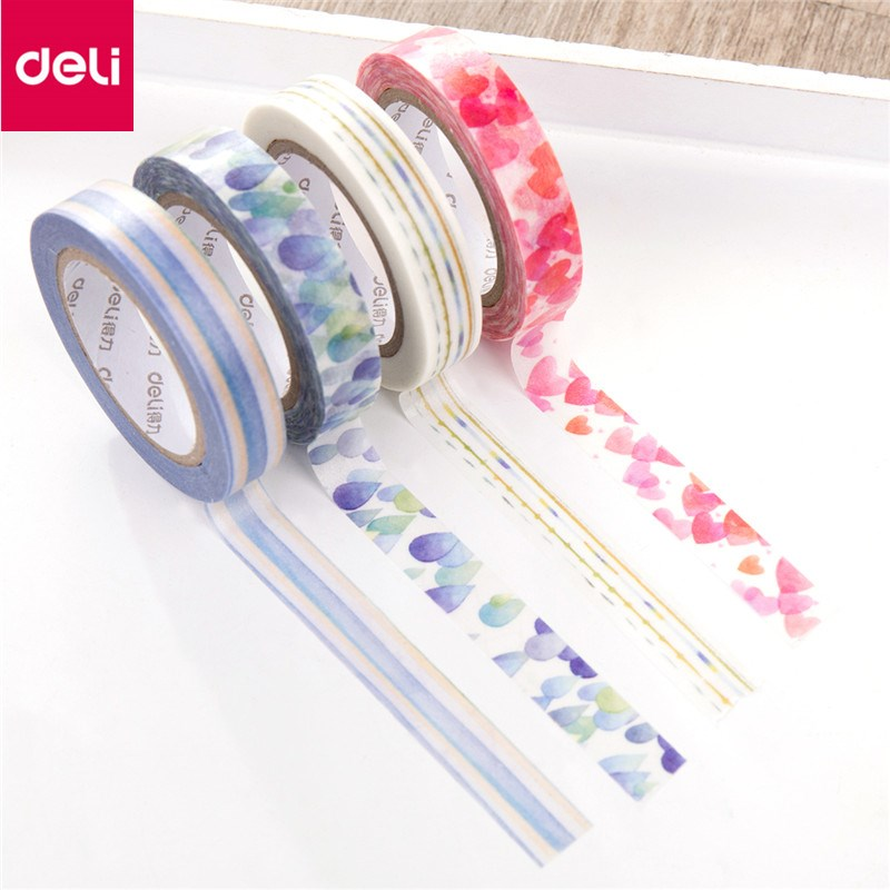 Deli 4Pcs Paper Decorative Adhesive Tapes Paper Tape Label Album DIY Greeting Card Decorative Band Can Tear Write Random Color pop up card dinomite dinosaur greeting card 3d greeting card pop up card