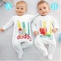 Ребенка комбинезон 2016 новорожденный я люблю мама и папа детские костюмы для девочек мальчик комбинезон одежды зима ползунки тела детская одежда Bebes