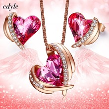 Buy crystal jewelry heart necklace swarovski earring and get free shipping  on AliExpress.com 7c4e9d17c5ce