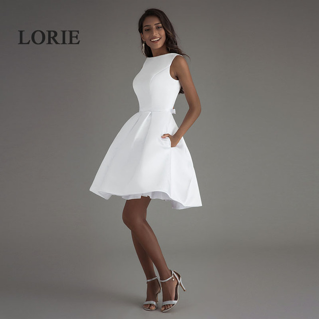 LORIE Short Beach Wedding Dresses 2019 Vestido Noiva Praia Simple New White Real Photo Backless A-Line Prom Party Bridal Gowns