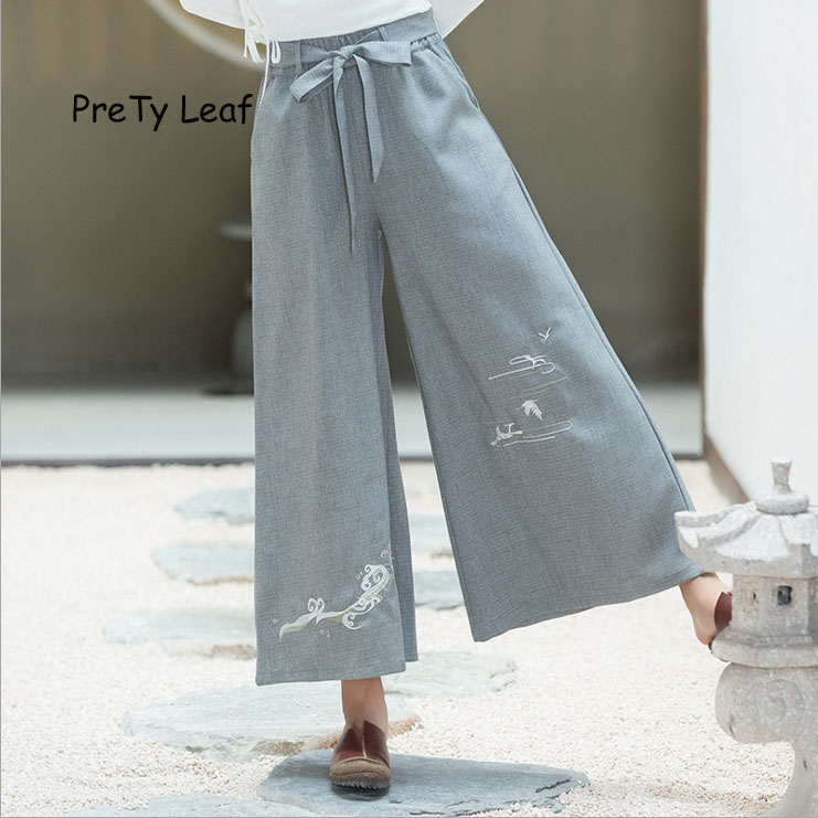 2018 new spring and summer retro embroidered cotton and linen   wide     leg     pants