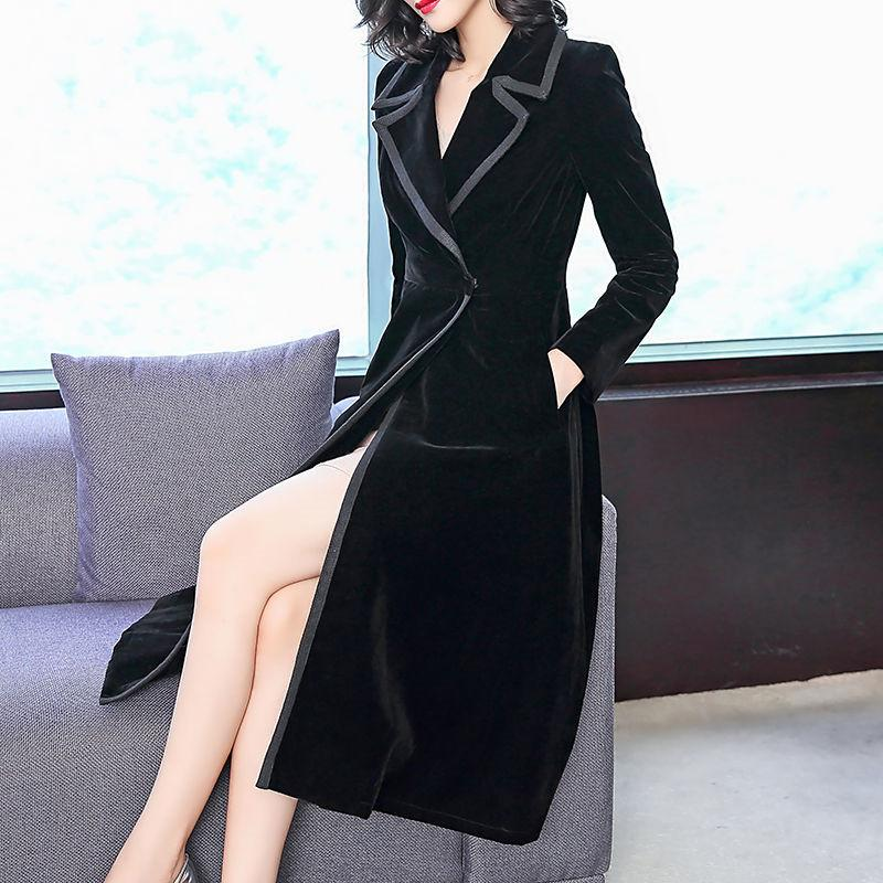 2019 New Spring Autumn Women Vintage Slim Black Mid-Long Velvet Trench Coat Female Elegant Simple Windbreaker Abrigo Mujer R127
