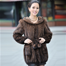 ZDFURS * Winter Women's Genuine Natural Knitted Mink Fur Coat with Hoody Lady Wam Outerwear Female mink Garment