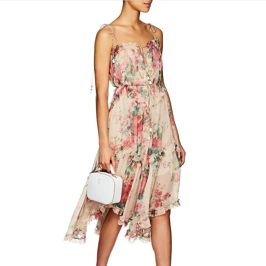 ec4b7bf45eca5 US $180.0 |Aliexpress.com : Buy Women Meadow Floral Print Laelia Floating  Dress Tiered Dress With Asymmetric Hem Shoestring Shoulder Laelia Floral ...