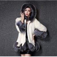 Whole skin rabbit fur winter coat outwerwear women A line loose fit natural fur coats with a hood 2018 autumn