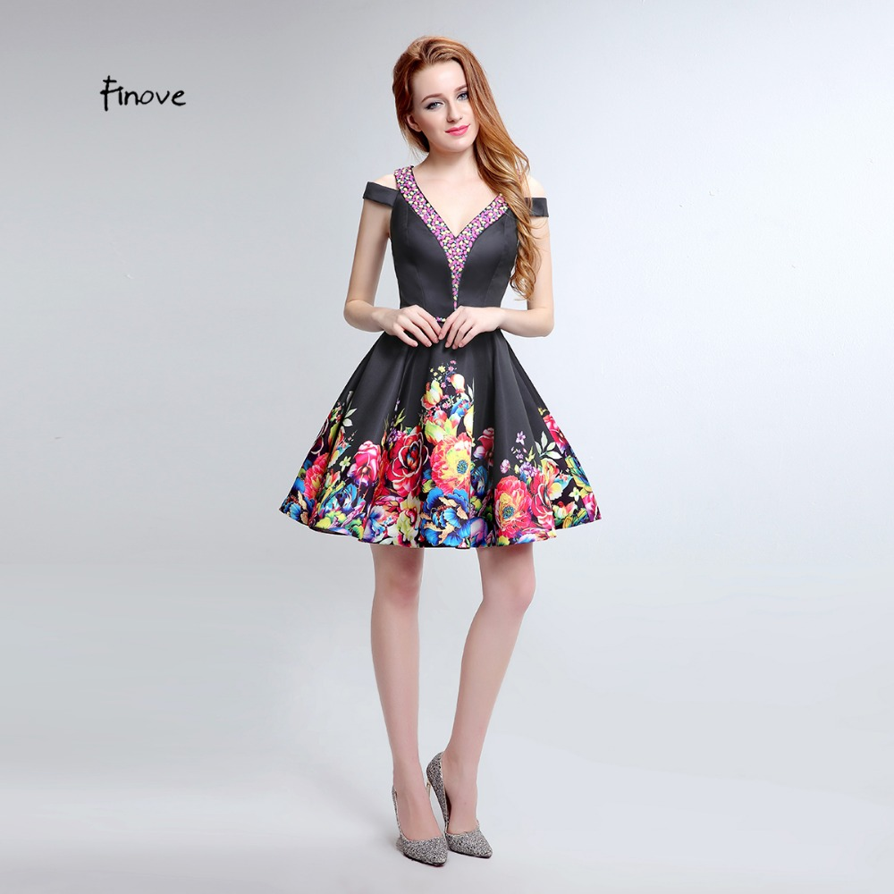c28cc06489e9 Black Cocktail Dresses 2019 Off the Shoulder Crystal A Line Spring Flower  Print Double V neck Mini Party Gowns Plus Size -in Cocktail Dresses from  Weddings ...