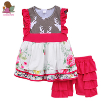 New Arrival Baby Clothing Girl Cute Deer Print Multi-layer Floral Hem Ruffle Red Shorts Summer Style Children Clothes S066