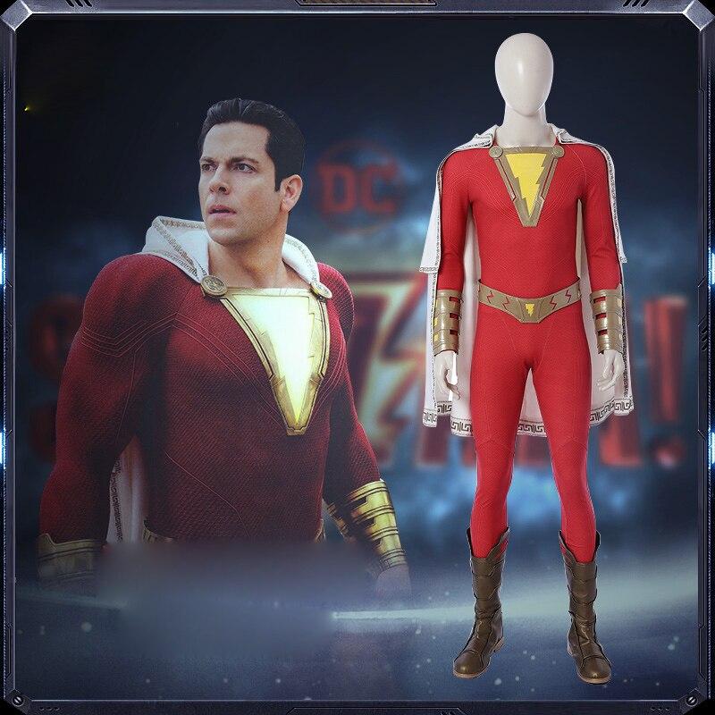 2019 Shazam Cosplay Captain Marvel Costume Billy Batson Jumpsuit Costumes Marvel Suit Superhero Halloween Adults Men Cosplay