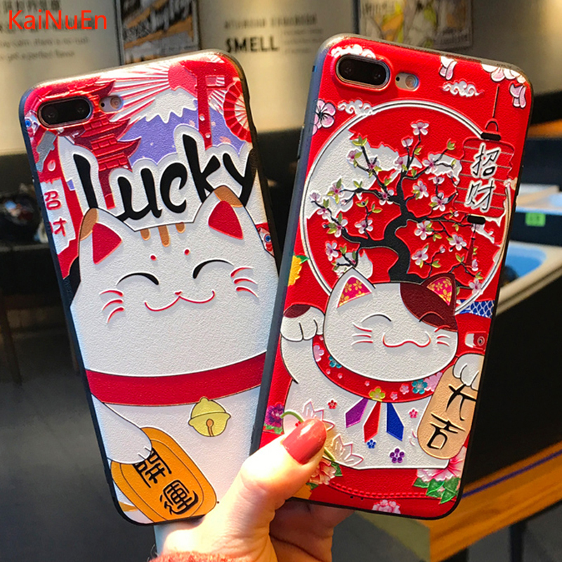 KaiNuEn luxury 3d cat tpu phone back etui coque cover case for iphone 7 plus 7plus silicone silicon cases For Apple iphone7plus