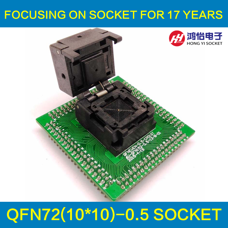 QFN72 MLF72 IC Pitch 0.5mm IC550-0724-018-G Programming Socket Clamshell Chip Size 10*10 Flash Test Adapter Burn in Socket qfp40 ic test conversion chip ic programming block qfp40