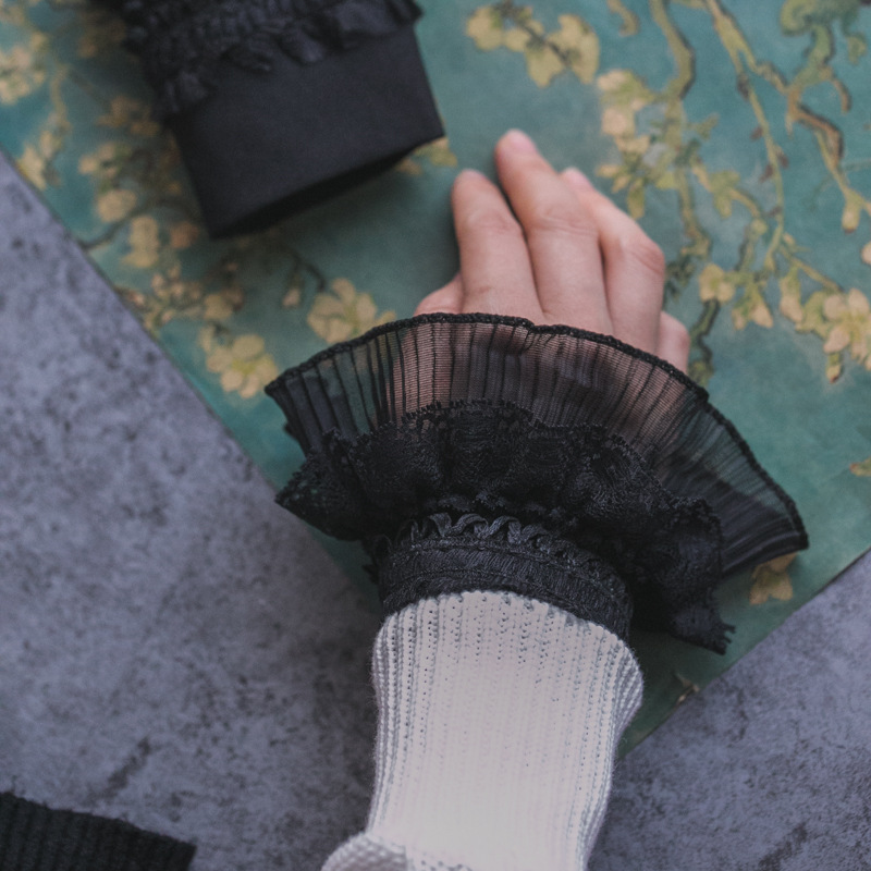 Autumn Gloves Women's Knitting Leisurely Women's Knitting Cuffs Sleeves Lace Decorated Cuff Fake Sleeves Autumn And Winter