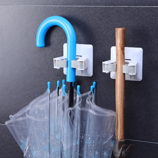 Non Punch Wall Sticker Mounted Mop Storage Broom Holder Hook Clip Powerful Seamless Mop Hook Bathroom Kitchen Home Organizer