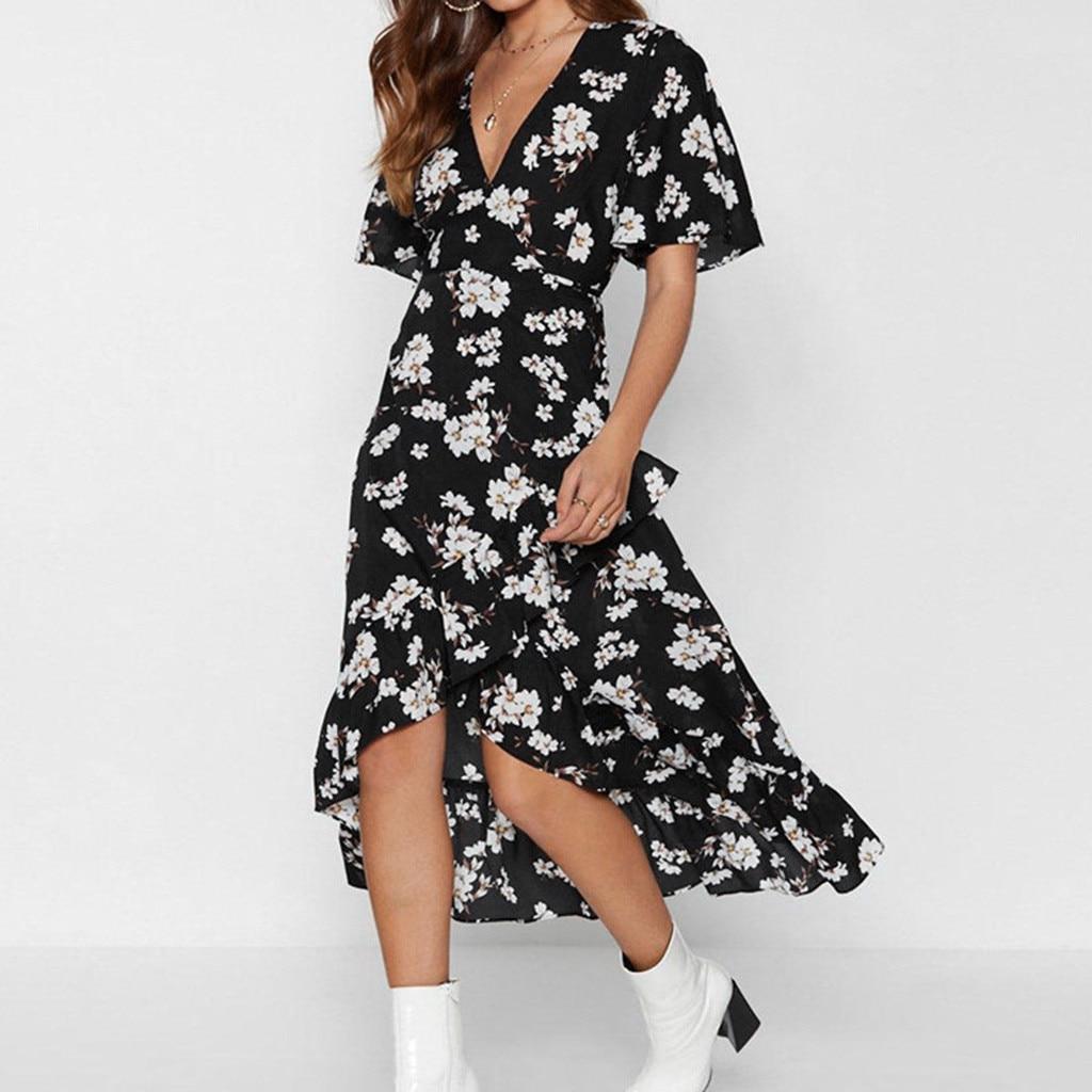 Fashion Summer Lace Up Floral Print Long Dress Loose Short