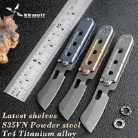 Mini S35VN Blade Folding Knife Portable Key Chain Pocket Knife Titanium Handle Sharp Camping Tactical Hunting