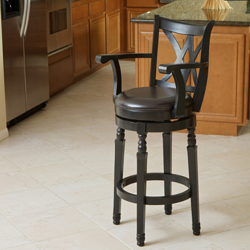 Accent Kitchen Chair Dining Chair with PU leather Seat Solid Wood Swivel Function