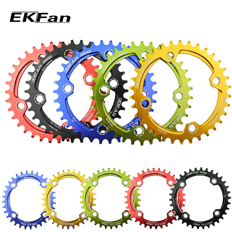 EKFan Round Oval 104BCD 32T/34T/36T Cycling Chainring Narrow Wide Ultralight 7075-T6  MTB Bike Chainwheel Circle Crankset Plate