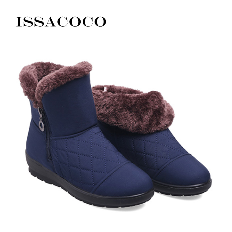 ISSACOCO Winter Snow Boots Women Boots Female Waterproof Ladies Snow Boots Girls Winter Shoes Woman Plush Insole Botas Mujer