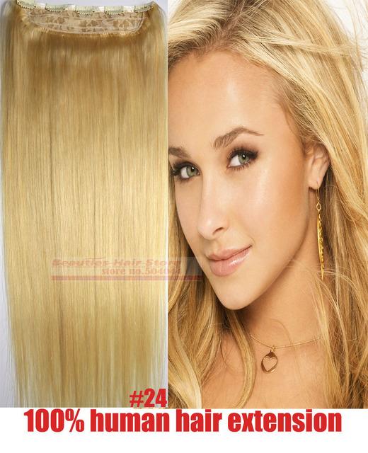 """16 """"-28"""" 1 unids solo un pedazo de cabello 100% brasileño suave pelo remy clips en/sobre extensiones del pelo humano #24 70g-200g"""