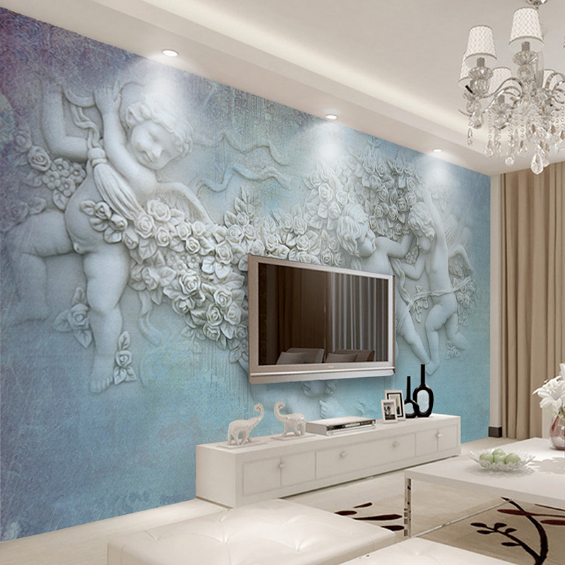 Custom Photo Wallpaper European Style Classical Oil Painting Little Angel 3D Stereoscopic Living Room Wall Mural Decor Wallpaper  free shipping large mural wallpaper villa living room ceiling european oil painting wallpaper