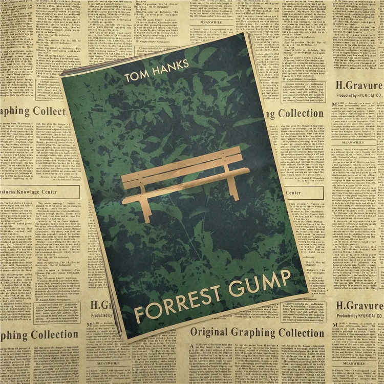 Forrest Gump Tom Hanks Self-Improvement Home Furnishing decoration Kraft Movie Poster Drawing core Wall stickers 42X30 CM