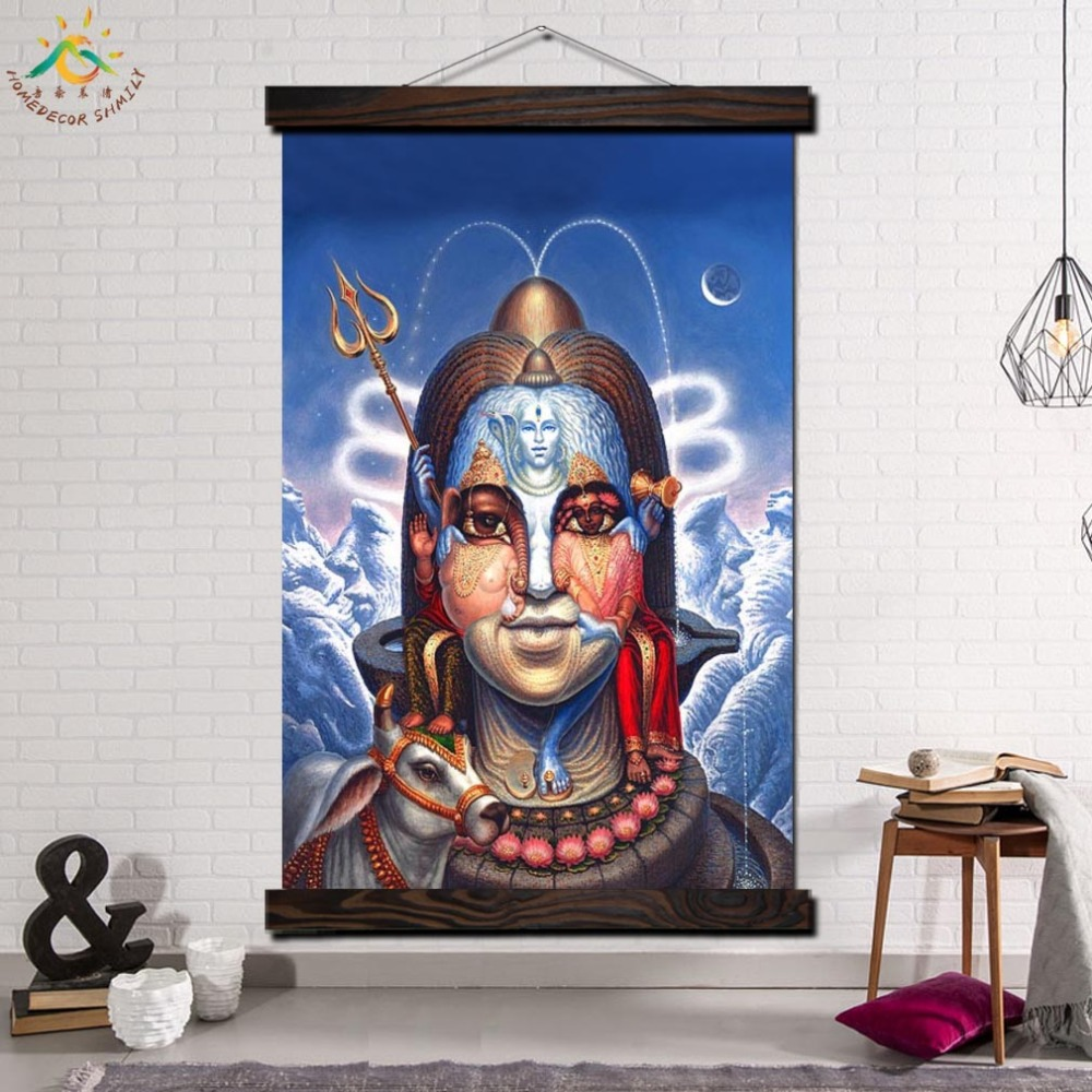 Lord God Picture Wall Art Single Panel Canvas Prints Painting with Frame Scroll Hanging Poster Decorative