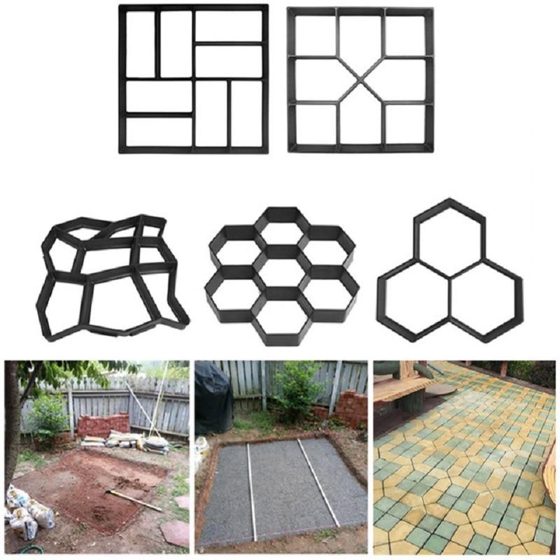 Garden Walk Pavement Mold Brick Stone Road Cement Concrete Molds Path Maker Reusable DIY For Garden Decoration Tool