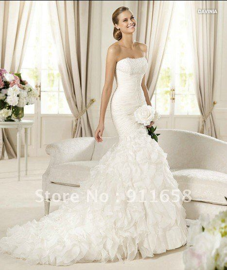 2013 stylish strapless white organza famous designer bridal gown custom made mermaid wedding dress