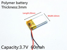 3.7V 60mAh Rechargeable li Polymer Li-ion Battery For bluetooth headset mp3 mp4 mp5 speaker mouse recorder 301020 031020