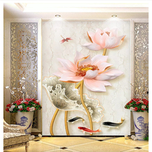 beibehang Classic wallpaper marble new Chinese three-dimensional embossed lotus porch background wall papers home decor behang