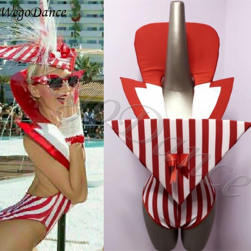 Sexy New Nightclub Bar Gogo DS Team Hyperbole Striped Stand-collar Stage Costume