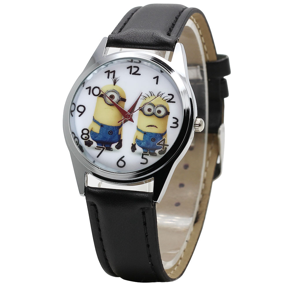 2018 hot Cartoon Eyes Despicable Me Minion Cartoon Watch Precious Milk Dad Cute Child Clock Baby Kid Quartz Watch Girl Boy