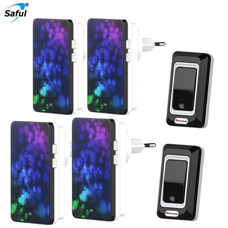 где купить Saful EU/US/UK/AU Plug Wireless Button Doorbell 2 Out Transmitters + 4 Doorbells Receiver Combination по лучшей цене