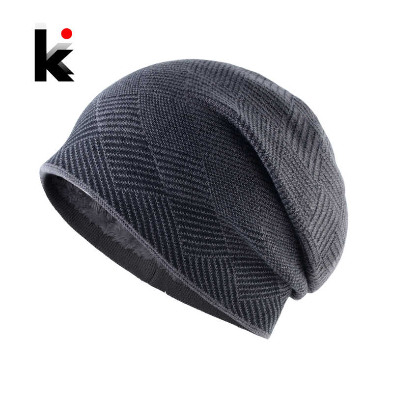 2018 Winter Hats For Men Beanies Bonnet Knitted Men s Casual Bonnets Plaid  Gorras Warm Thicker Double 68aa91618bf2