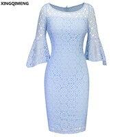 В наличии голубой кружева с расклешенными рукавами коктейльные платья Элегантные Короткие chic вечернее платье простые дешевые довольно кор...