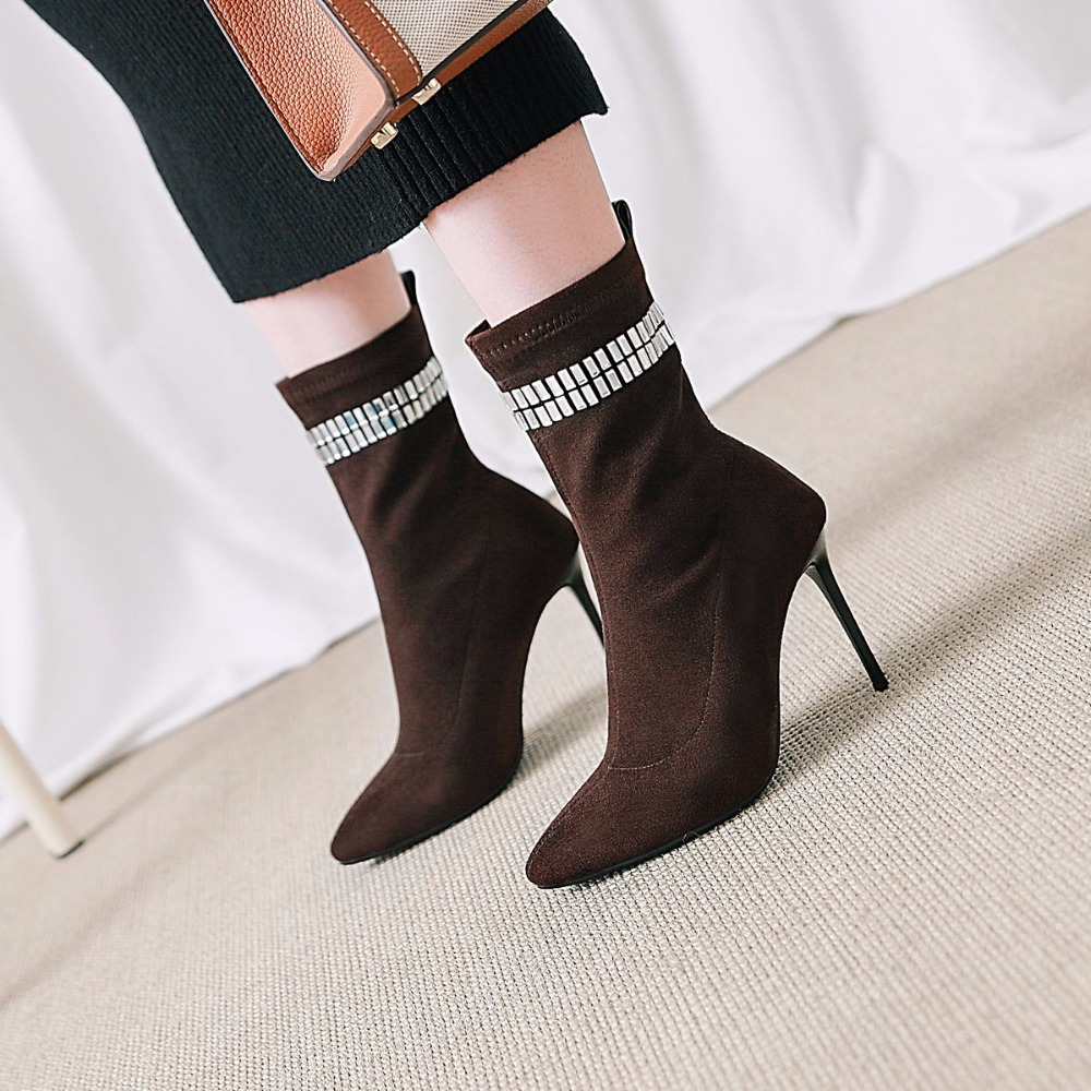 Boot marron Pointu Hiver Talons Noir Cristal Bottes Stiletto Chaussures Stretch Femmes Cheville D027 camel Bout Chaussette Nouveau Femelle 2019 Parti d4YwHx7qH