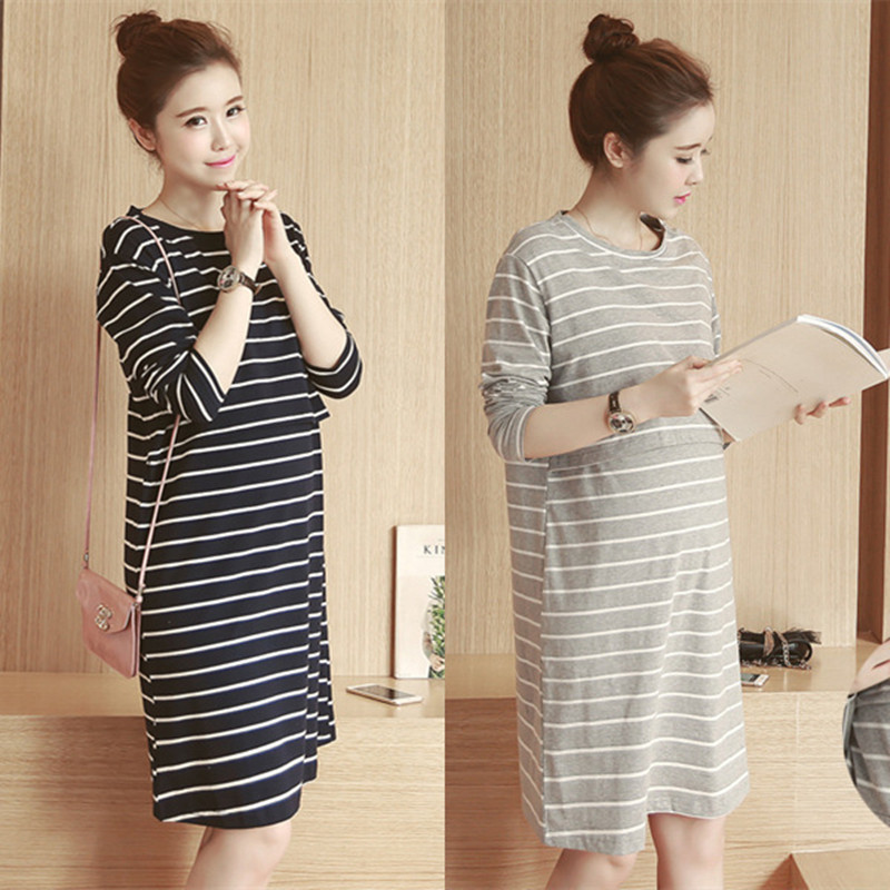 2018 Spring Autumn Nursing Dress Breastfeeding Maternity Clothes For Pregnant Woman Cotton Striped Lactation Long Dress hidden pocket striped dress