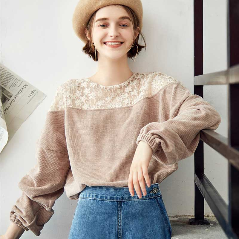 ARTKA 2018 Fashion Women Blouses Autumn O neck Long Sleeve Lace Patchwork Blouse Tops Gray Pink