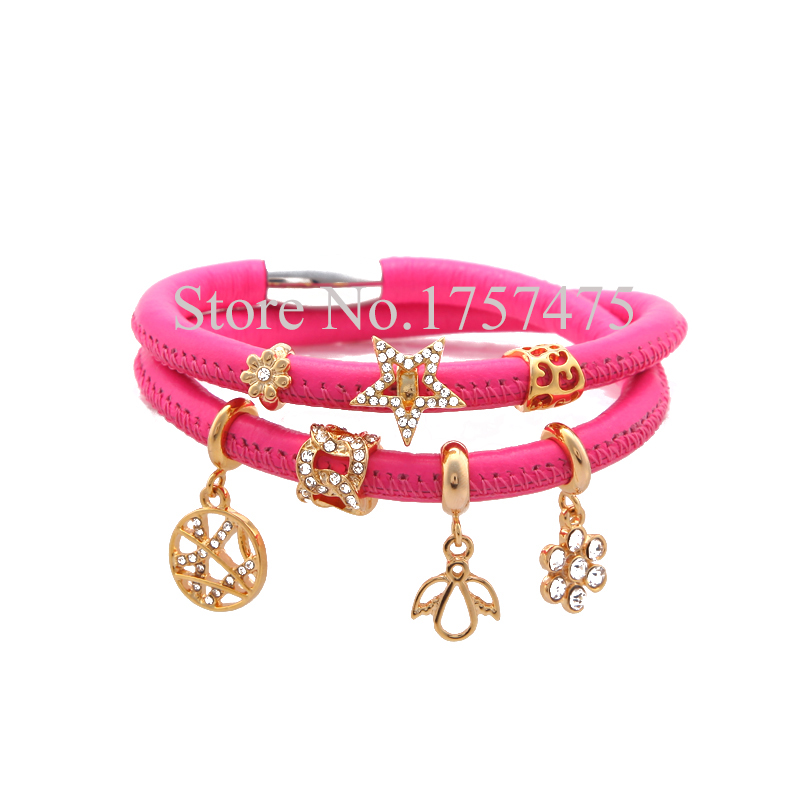 Tdiyj New Arrival 1set Rose Red Magnetic Clasp Double Loop Genuine Sheepskin Leather Story Bracelet With 7pcs Gold Story Charms Bracelets & Bangles Back To Search Resultsjewelry & Accessories