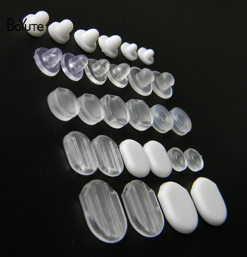 BoYuTe Wholesale White Transparent Soft Silicone Anti-Pain Ear Clip Pad Earrings Accessories DIY Jewelry Findings Components (2)